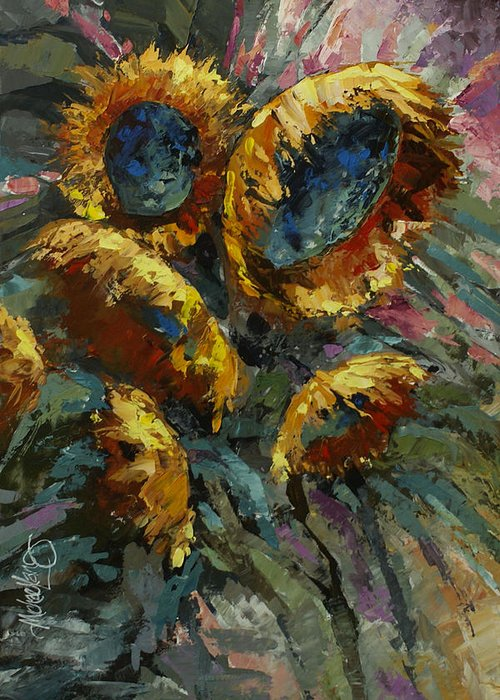 Floral Greeting Card featuring the painting 'follow The Sun 2' by Michael Lang