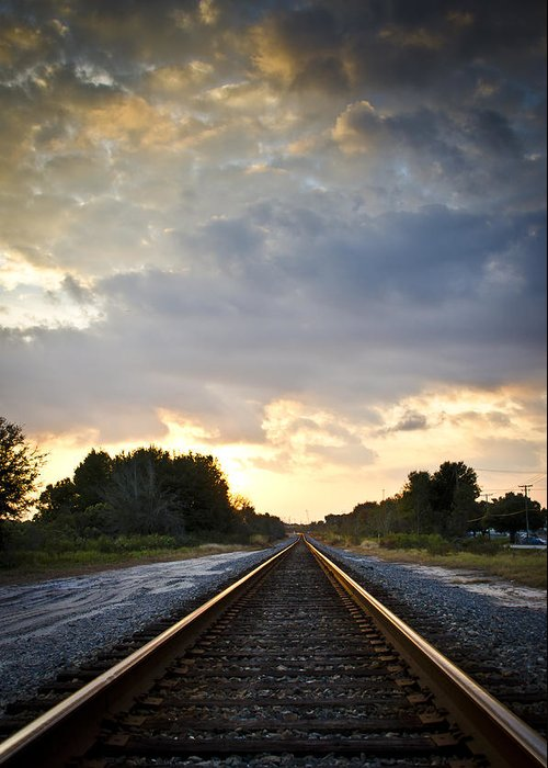 Train Greeting Card featuring the photograph Follow The Tracks by Carolyn Marshall