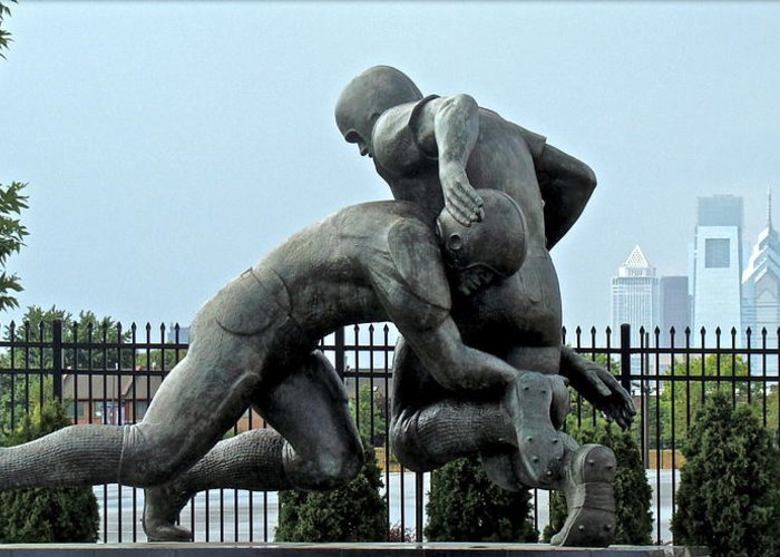 Football Statue Citizens Bank Park City View Philadelphia Greeting Card featuring the photograph Football At Citizens Bank Park by Alice Gipson