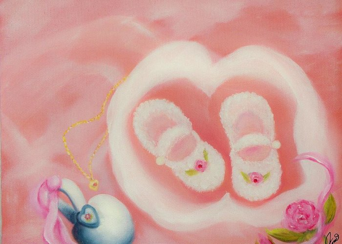 Pink Greeting Card featuring the painting For Baby by Joni McPherson