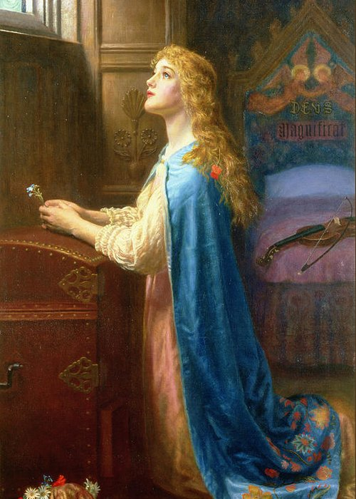 'forget Me Not' Greeting Card featuring the painting 'forget Me Not' by Arthur Hughes