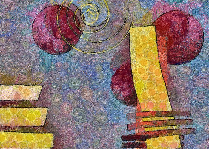 Pink Greeting Card featuring the digital art Formes - 08a by Variance Collections