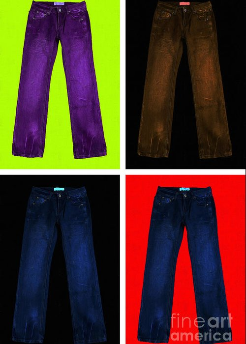 Brown Greeting Card featuring the photograph Four Pairs Of Blue Jeans - Painterly by Wingsdomain Art and Photography
