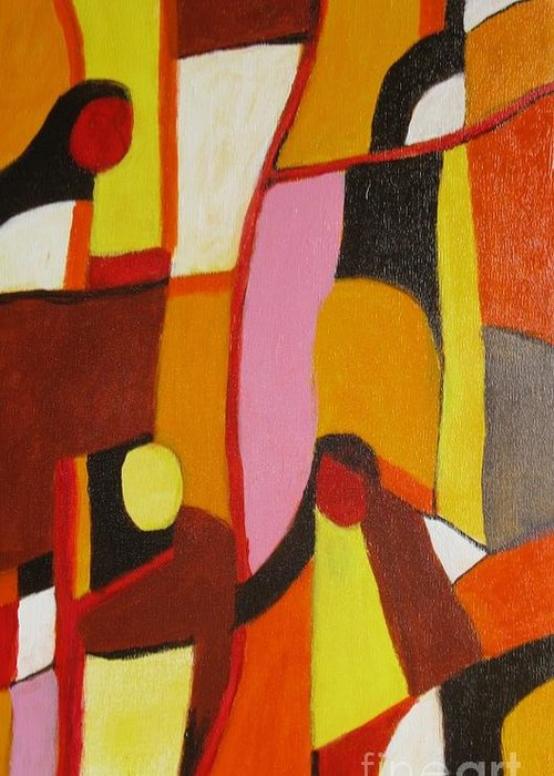 Semi Abstract Greeting Card featuring the painting Four Women by Nedunseralathan R