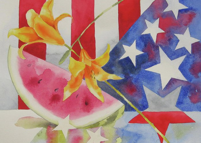 Watermelon Greeting Card featuring the pyrography Fourth Of July by Amy Householder
