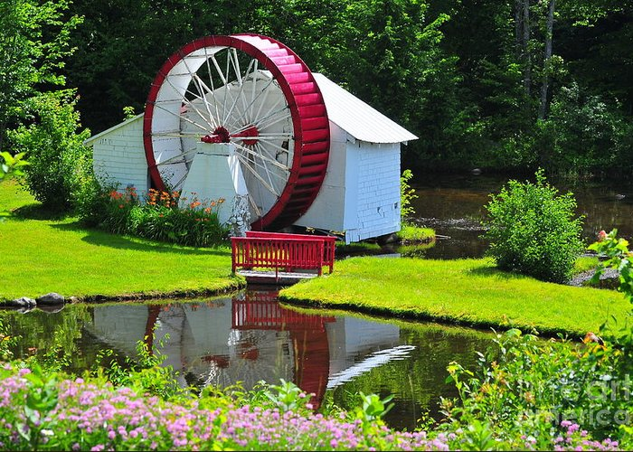 Waterwheel Greeting Card featuring the photograph Franconia Notch Waterwheel by Catherine Reusch Daley