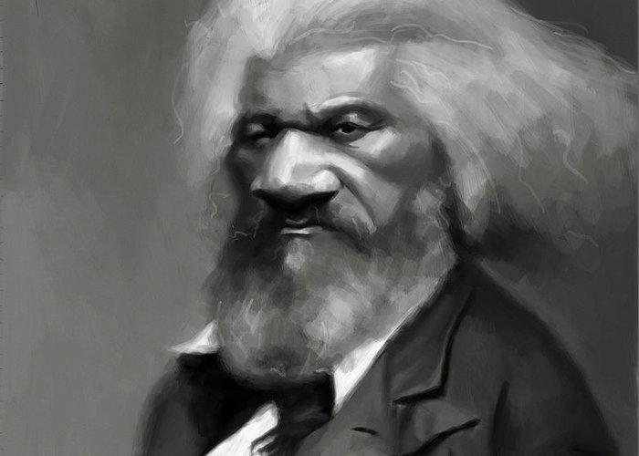 Frederick Douglass Greeting Card featuring the painting Frederick Douglass by Jumaane Sorrells-Adewale