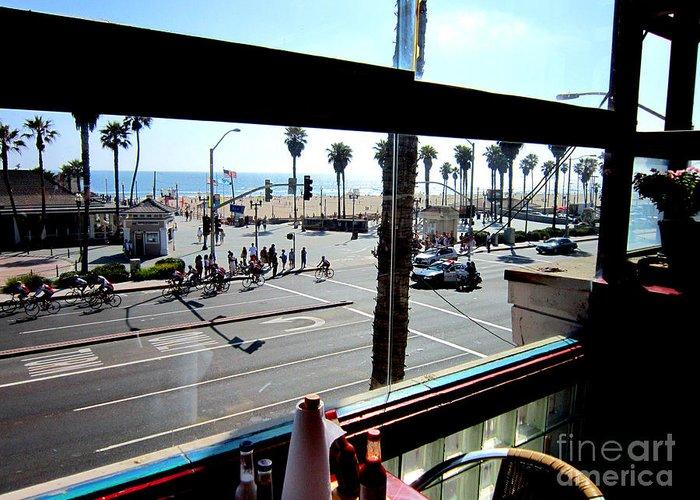 Huntington Beach Ca Freds Resturant Pch Main Street Pacific Coast Hwy 101 Surf City Usa Greeting Card featuring the photograph Freds Huntington Beach by RJ Aguilar