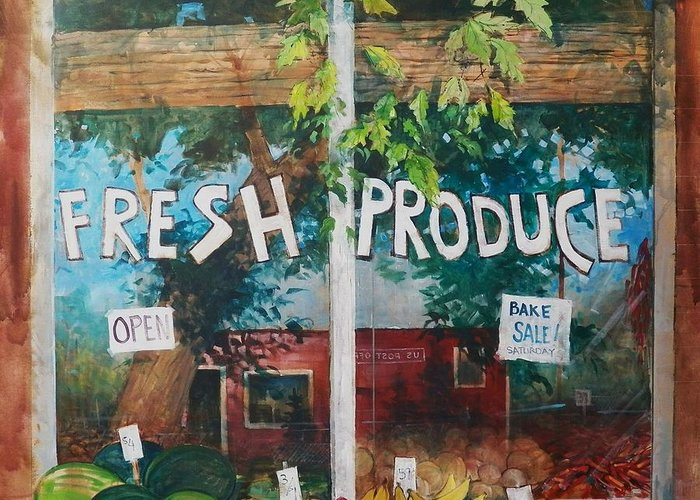 Fruit Greeting Card featuring the painting Fresh Produce by Micheal Jones