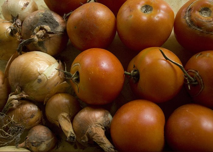 Cortland Greeting Card featuring the photograph Fresh Tomatos And Onions From A Garden by Joel Sartore