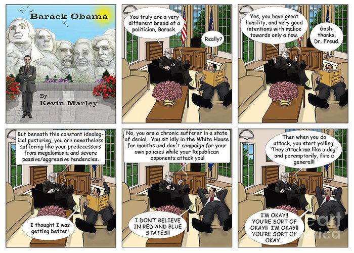 Barack Obama Greeting Card featuring the digital art Freud And His Diagnosis by Kevin Marley