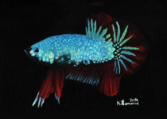 Fish Greeting Card featuring the painting Frilled Blue Moonstone by Kayleigh Semeniuk
