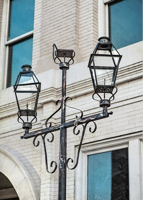 Street Light Greeting Card featuring the photograph Front Street Lamp by Brenda Bryant