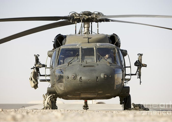 Aviation Greeting Card featuring the photograph Front View Of A Uh-60l Black Hawk by Terry Moore