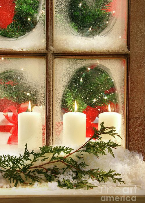 Background Greeting Card featuring the photograph Frosted Window by Sandra Cunningham