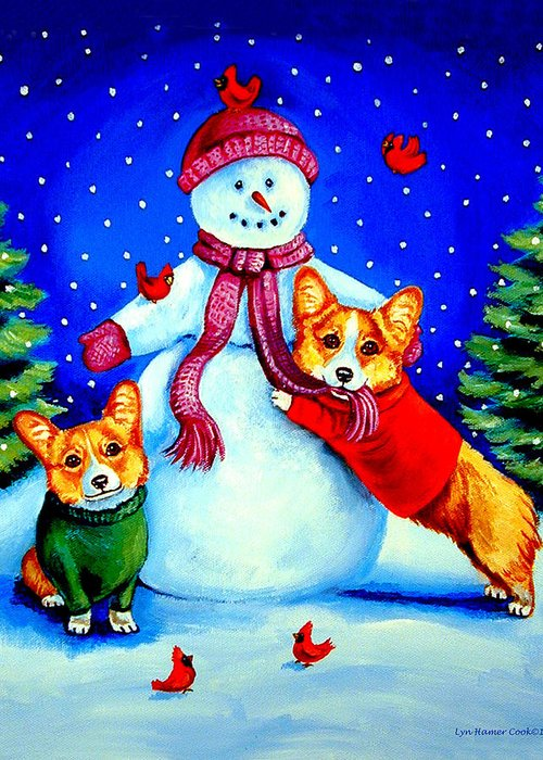 Pembroke Welsh Corgi Greeting Card featuring the painting Frosty's Helpers Pembroke Welsh Corgis by Lyn Cook