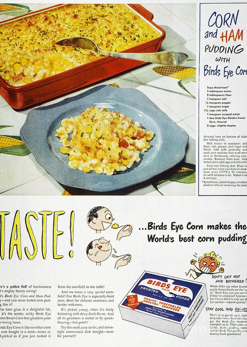 -domestic- Greeting Card featuring the photograph Frozen Food Ad, 1947 by Granger