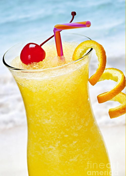 Orange Greeting Card featuring the photograph Frozen Tropical Orange Drink by Elena Elisseeva