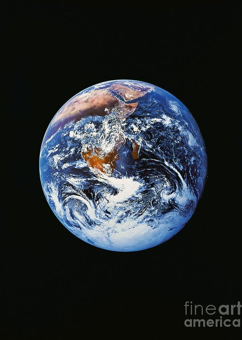 Vertical Greeting Card featuring the photograph Full Earth From Space by Stocktrek Images