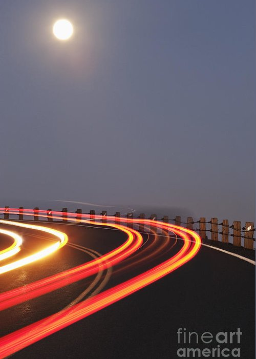 Asphalt Greeting Card featuring the photograph Full Moon Over A Curving Road by Jetta Productions, Inc