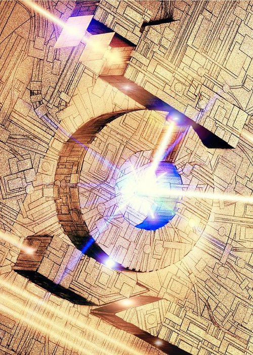 Light Greeting Card featuring the photograph Future Computing, Conceptual Image by Richard Kail