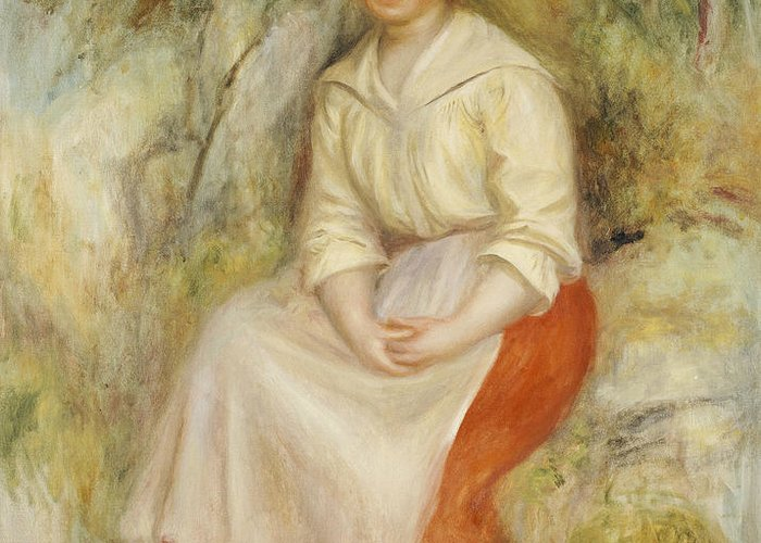 Impressionist; Impressionism; Portrait; Female; Seated; Sitting; Full Length Greeting Card featuring the painting Gabrielle In A Straw Hat by Pierre Auguste Renoir