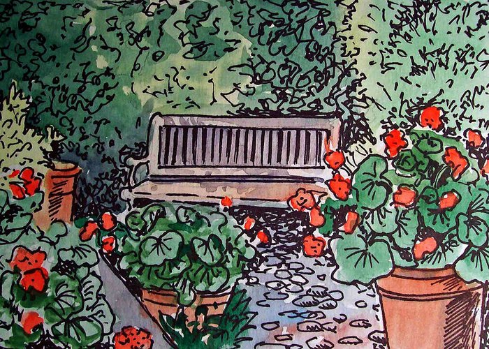 Bench Greeting Card featuring the painting Garden Bench Sketchbook Project Down My Street by Irina Sztukowski