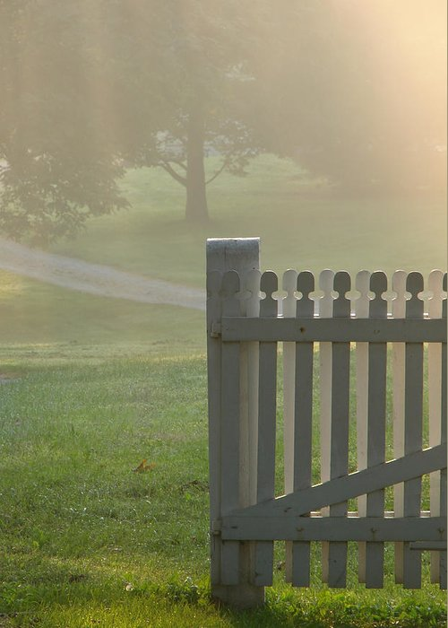 Barrier Greeting Card featuring the photograph Garden Gate In Morning Fog by Olivier Le Queinec