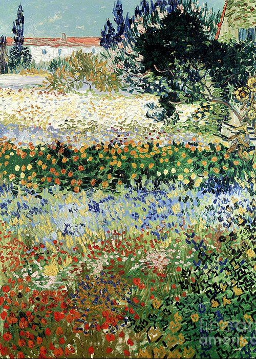 Garden In Bloom Greeting Card featuring the painting Garden In Bloom by Vincent Van Gogh
