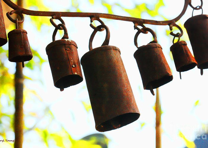 Rusty Garden Chimes Greeting Card featuring the photograph Garden Noah Bells 2 by Cheryl Young