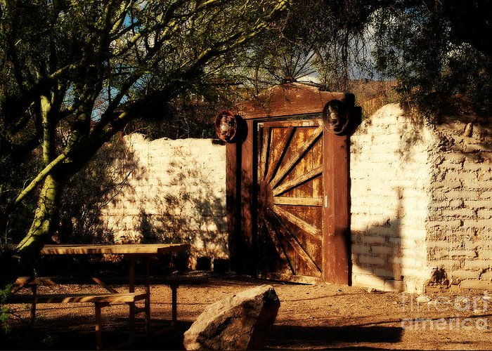 Gate To Cowboy Heaven Greeting Card featuring the photograph Gate To Cowboy Heaven In Old Tuscon Az by Susanne Van Hulst