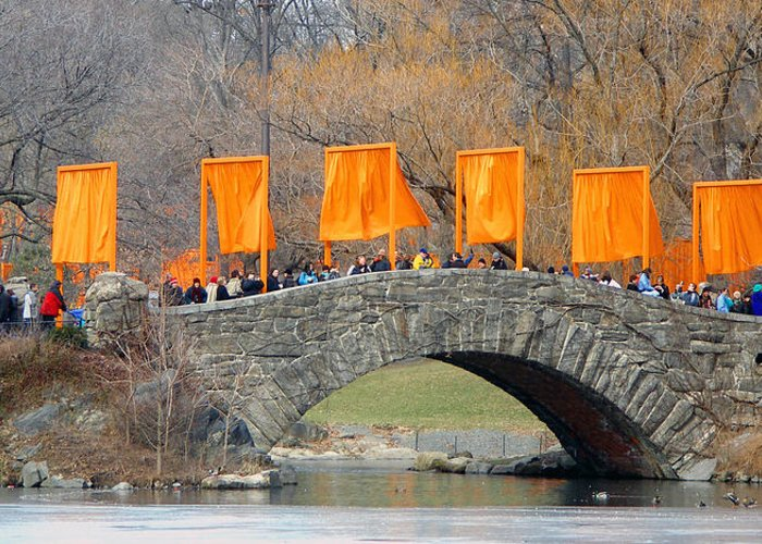 Christo And Jeanne-claude Greeting Card featuring the photograph Gates Over Gapstow Bridge by Frank Winters