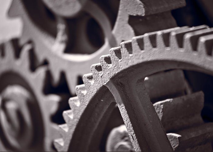 Gear Greeting Card featuring the photograph Gears Number 3 by Steve Gadomski