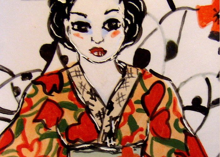 Art Greeting Card featuring the ceramic art Geisha In Training by Patricia Lazar