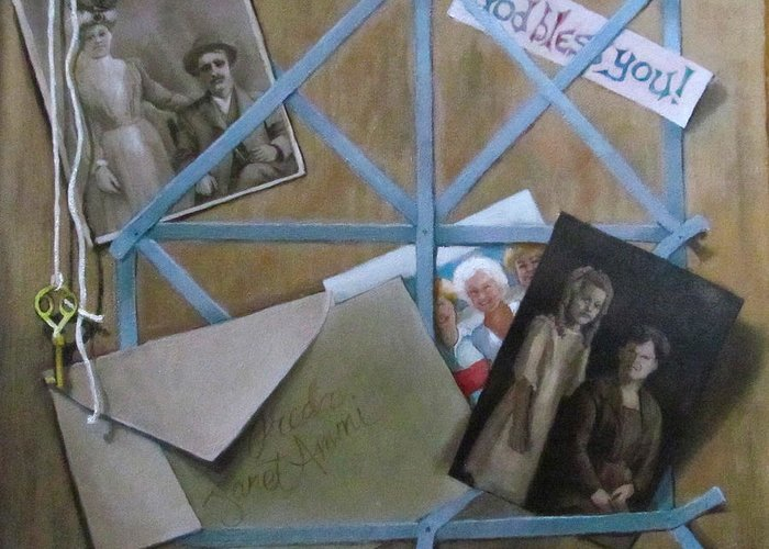Family Greeting Card featuring the painting Geneaology by Janet McGrath