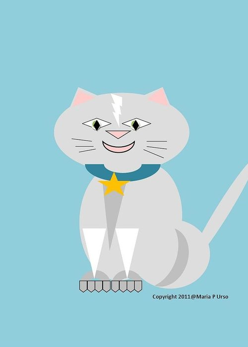 Cat Greeting Card featuring the drawing Geo Smiley Cat by Maria Urso