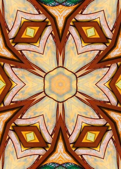 Abstract Greeting Card featuring the ceramic art Geometric Stained Glass Abstract by Linda Phelps
