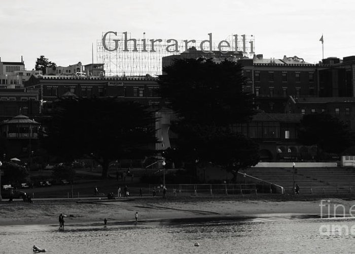Ghirardelli Square Greeting Card featuring the photograph Ghirardelli Square In Black And White by Linda Woods