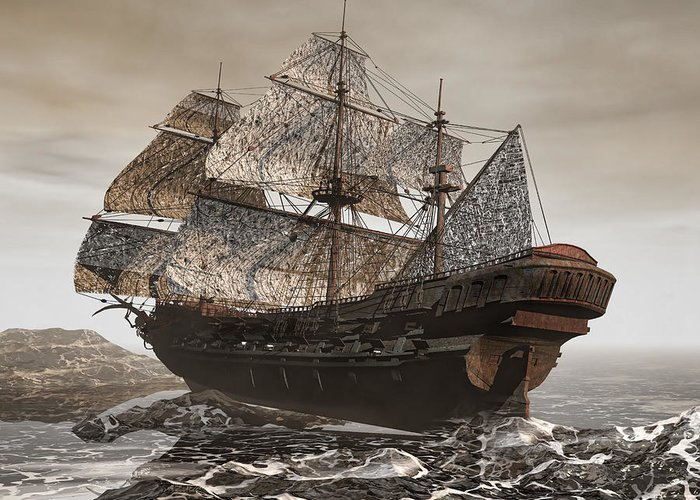 Flying Dutchman Greeting Card featuring the photograph Ghost Ship Of The Cape by Lourry Legarde