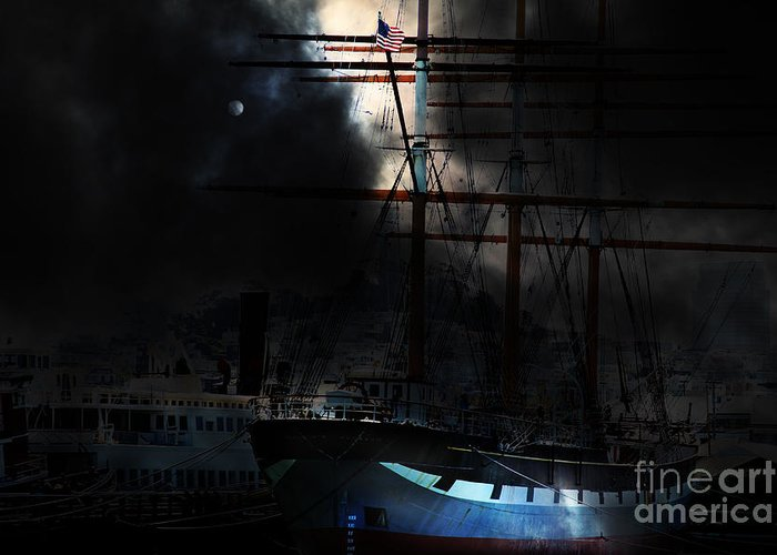 San Francisco Greeting Card featuring the photograph Ghost Ship Of The San Francisco Bay . 7d14032 by Wingsdomain Art and Photography