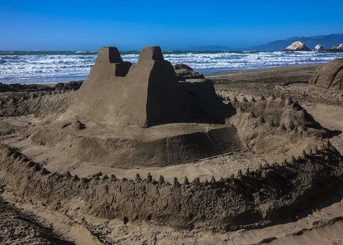 Giant Sand Castle Greeting Card featuring the photograph Giant Sand Castle by Garry Gay