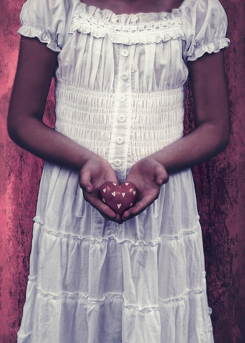 Girl Greeting Card featuring the photograph Girl With A Heart by Joana Kruse