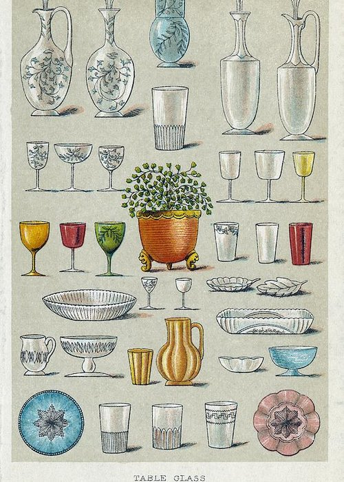 History Greeting Card featuring the photograph Glassware, Historical Artwork by Mid-manhattan Picture Collectionglassnew York Public Library