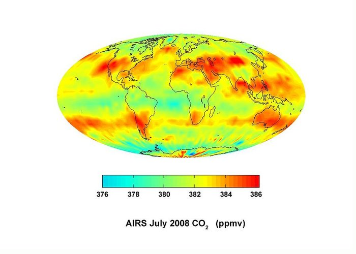 Earth Greeting Card featuring the photograph Global Carbon Dioxide Transport, 2008 by Nasajpl