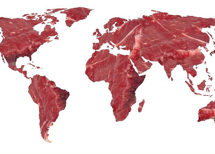Earth Greeting Card featuring the photograph Global Meat Eating, Conceptual Artwork by Victor De Schwanberg