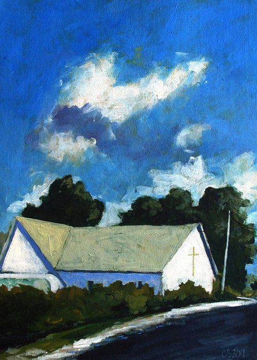 Church Greeting Card featuring the painting Glory Barn by Charlie Spear