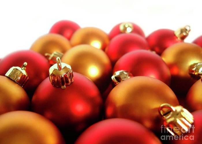 Ball Greeting Card featuring the photograph Gold And Red Xmas Balls by Carlos Caetano