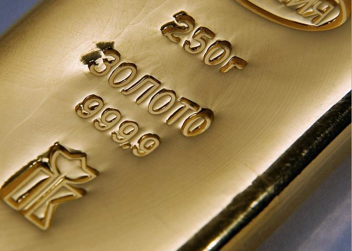 Gold Greeting Card featuring the photograph Gold Bullion by Ria Novosti
