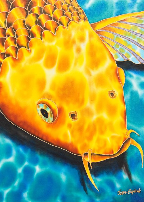 Fish Greeting Card featuring the tapestry - textile Golden Koi by Daniel Jean-Baptiste