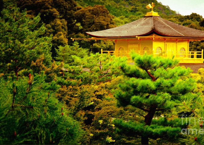 Kinkaku-ji Greeting Card featuring the painting Golden Pavilion Temple In Kyoto Glowing In The Garden by Andy Smy